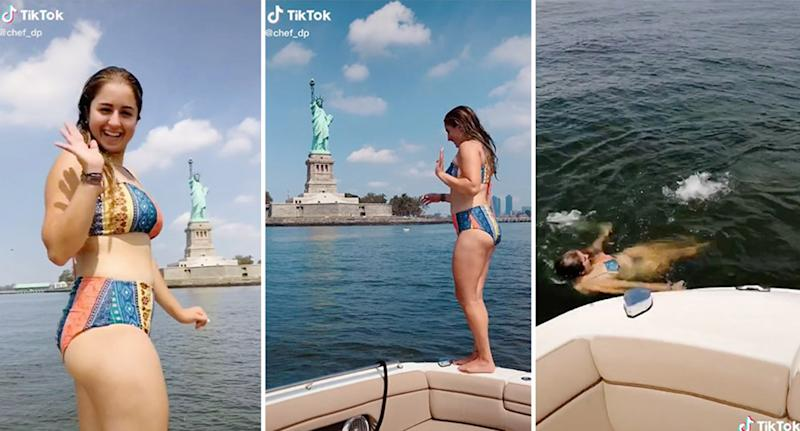 TikTok user Donna Paysepar was slammed on social media for sharing videos of herself jumping into the Hudson River. Source: TikTok/chef_dp