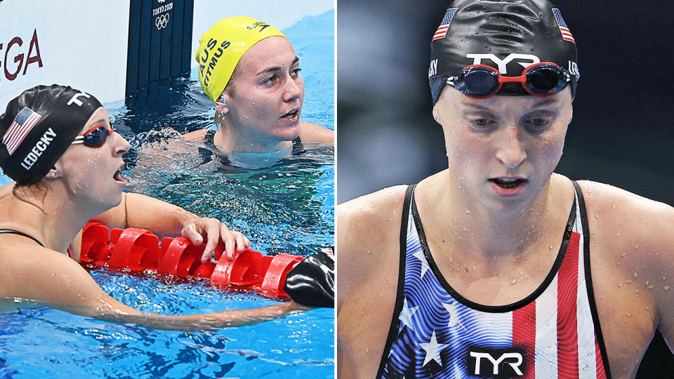 Katie Ledecky and Ariarne Titmus, pictured here after the 200m freestyle final.