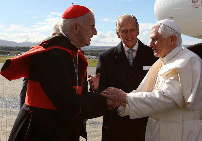 FILE - This is a Thursday, Sept,16, 2010 file photo Pope Benedict XVI, right,  is greeted by  Cardinal Keith O'Brien  in Edinburgh, Scotland, to begin the first papal state visit to the UK    Cardinal O'Brien resigned Monday Feb 25, 2013 due to allegations of misconduct. (AP Photo/Andrew Milligan, Pool)