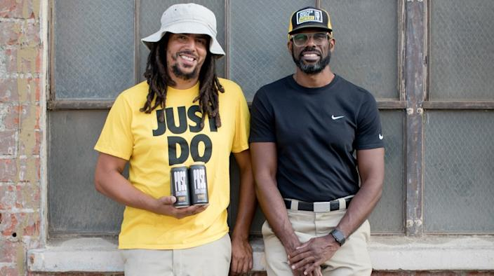 "From left, Samuel Chawinga and Craig Bowers, owners of South Los Angeles Beverage Compay. <span class=""copyright"">(Andrew Zinn)</span>"