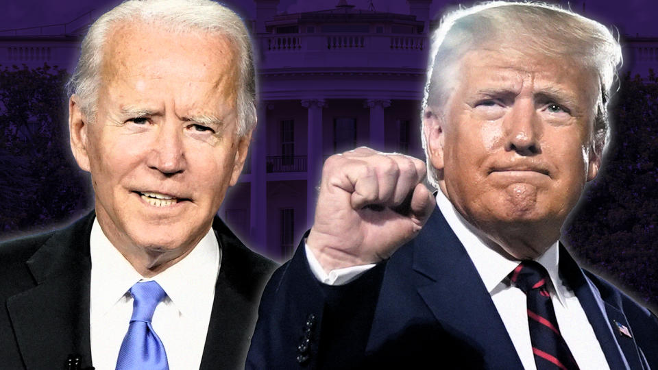 Joe Biden and President Trump. (Photo illustration: Yahoo News; photos: AP (2), Getty Images)