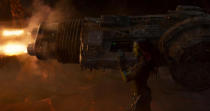 <p>Yes, the blaster is bigger than she is. (Photo: Marvel) </p>