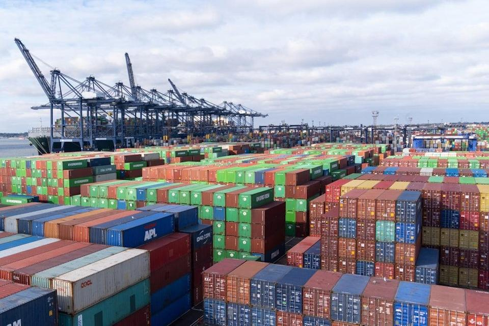 Thousands of shipping containers at the Port of Felixstowe in Suffolk (Joe Giddens/PA) (PA Wire)