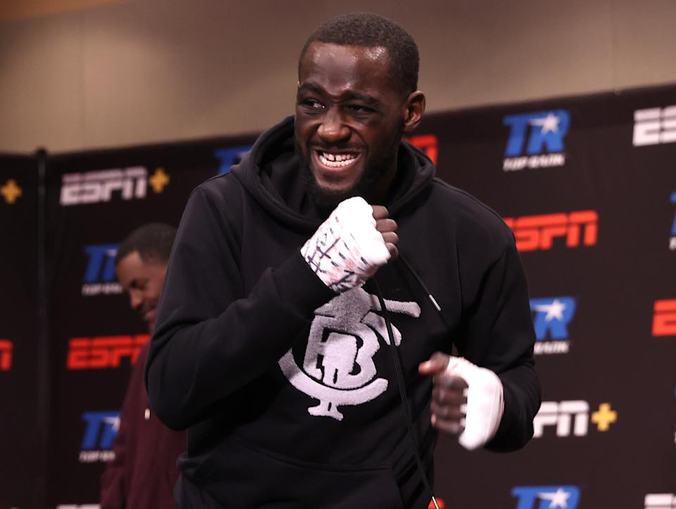 LAS VEGAS, NV - NOVEMBER 14: Terence Crawford warms up before his fight against Kell Brook for the WBO welterweight title at the MGM Grand Conference Center on November 14, 2020 in Las Vegas, Nevada. (Photo by Mikey Williams/Top Rank Inc via Getty Images)