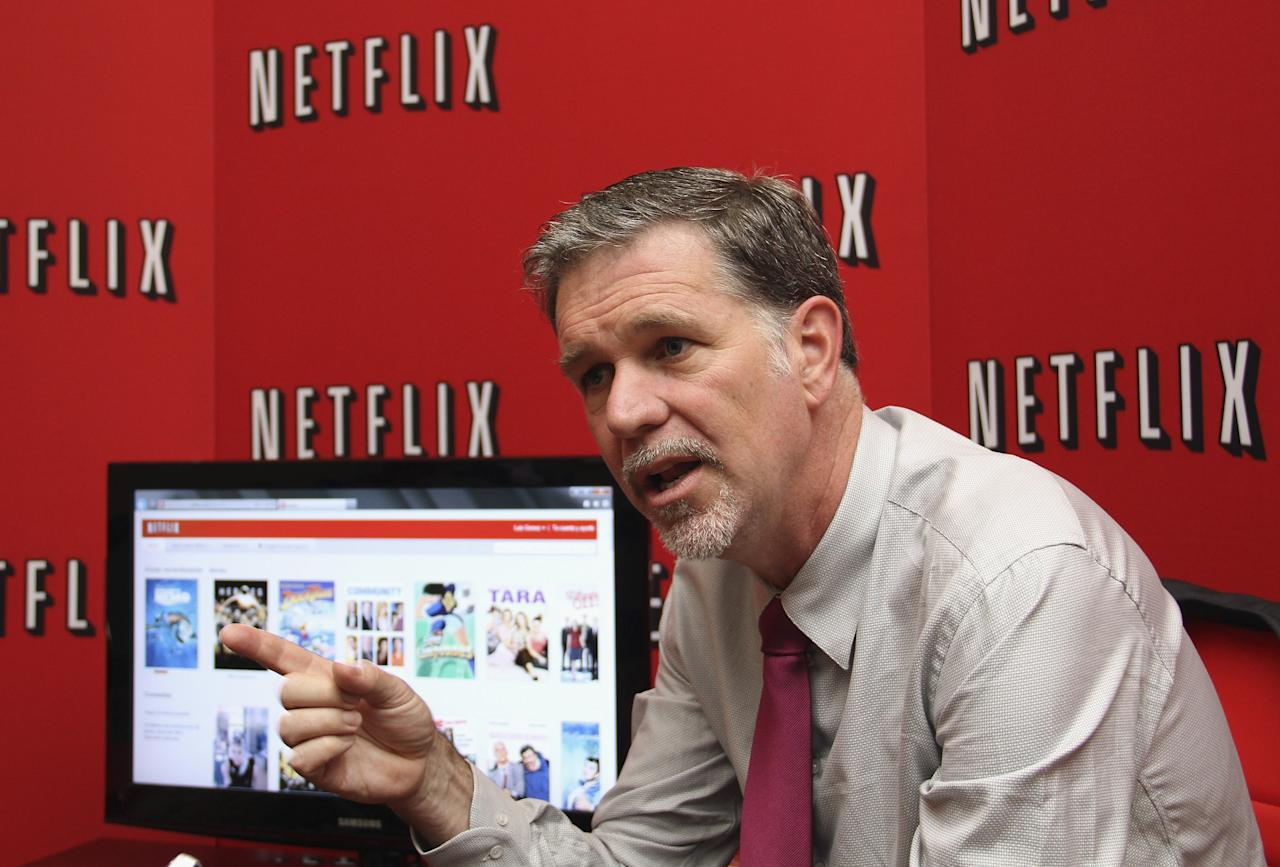 BOGOTA, COLOMBIA - SEPTEMBER 09: Reed Hastings, CEO and founder of Netflix, talks for the international press during the launch of Netflix in Colombia on September 9, 2011 in Bogota,Colombia. (Photo by Felipe Caicedo/ Getty Images for Netflix)