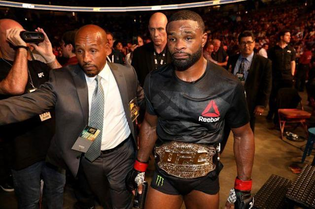 Tyron Woodley says he and Dana White have smoothed things over. (Getty)