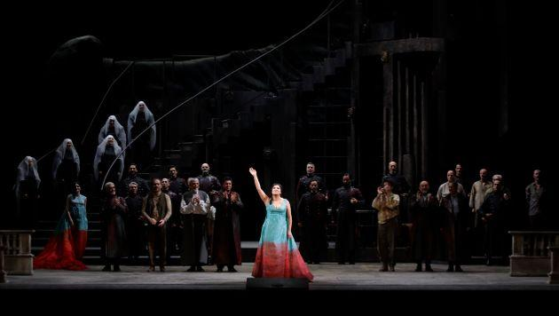 Russian soprano Anna Netrebko acknowledges the applause of the audience at the end of La Scala opera house's gala season opener, Giacomo Puccini's opera