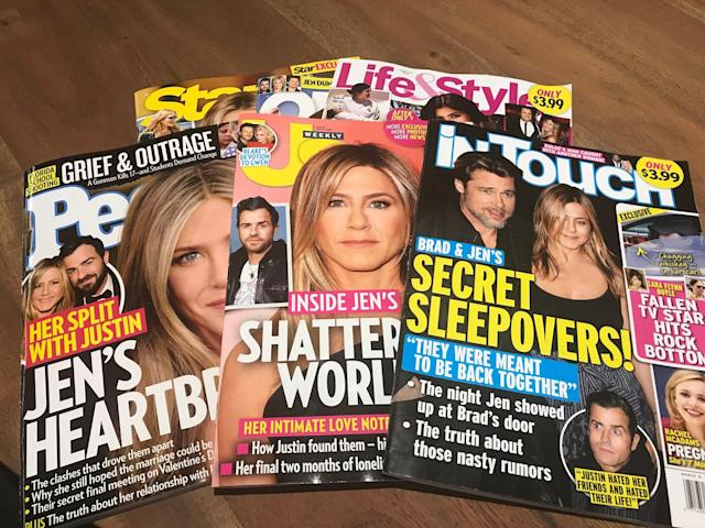 Jennifer Aniston and Justin Theroux's split is like a celebration for the celebrity weeklies, who have so many theories — some absurd — about what went wrong. (Photo: Yahoo Entertainment)