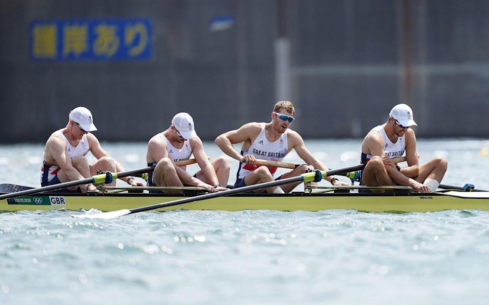 Great Britain's Oliver Cook, Matthew Rossiter, Rory Gibbs and Sholto Carnegie react to finishing fourth - A soft approach and softer results: Sir Steve Redgrave hits out at British Rowing after poor Olympics - PA