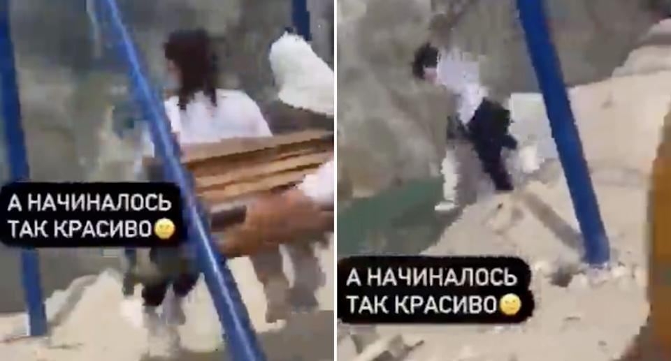 Two women fall from a swing in Sulak Canyon in Dagestan.