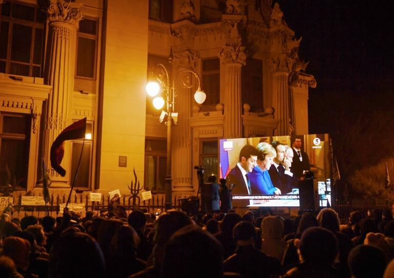 About 200 demonstrators spent the night in tents outside the Ukrainian president's office
