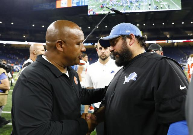 Cleveland Browns head coach Hue Jackson, left, meets with Detroit Lions head coach Matt Patricia after an NFL football preseason game, Thursday, Aug. 30, 2018, in Detroit. (AP Photo/Rick Osentoski)