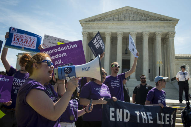 Abortion rights advocates outside the Supreme Court, June 26, 2018. (Photo: Sarah Silbiger/CQ Roll Call)