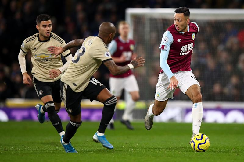 BURNLEY, ENGLAND - DECEMBER 28: Dwight McNeil of Burnley during the Premier League match between Burnley FC and Manchester United at Turf Moor on December 28, 2019 in Burnley, United Kingdom. (Photo by Robbie Jay Barratt - AMA/Getty Images)
