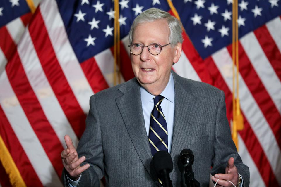 U.S. Senate Minority Leader Mitch McConnell (R-KY) speaks to reporters after the weekly Republican caucus policy luncheon on Capitol Hill in Washington, U.S., January 26, 2021.  (Jonathan Ernst/Reuters)