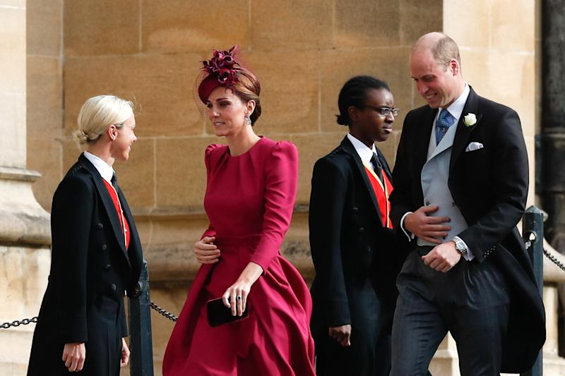 Catherine, Duchess of Cambridge and Prince William, Duke of Cambridge arrive ahead of the wedding of Princess Eugenie of York to Jack Brooksbank at Windsor Castle on October 12, 2018, in Windsor, England.