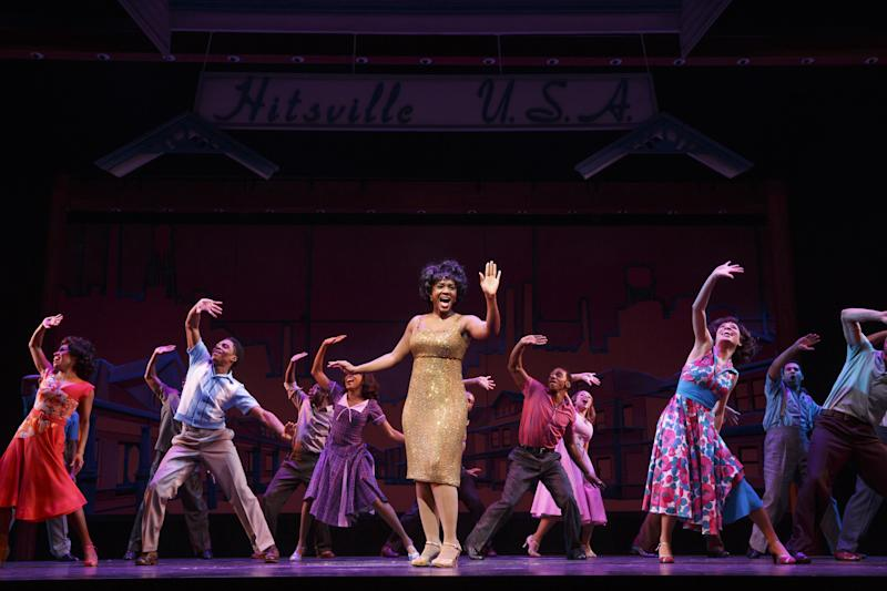 """This theater image released by Boneau/Bryan-Brown shows, Saycon Sengbloh as Martha Reeves, center, in """"Motown: The Musical,"""" performing at the Lunt-Fontanne Theatre in New York. (AP Photo/Boneau/Bryan-Brown, Joan Marcus)"""