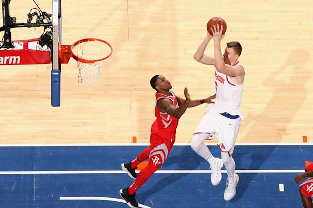Kristaps Porzingis has been brilliant offensively this season. (Getty Images)