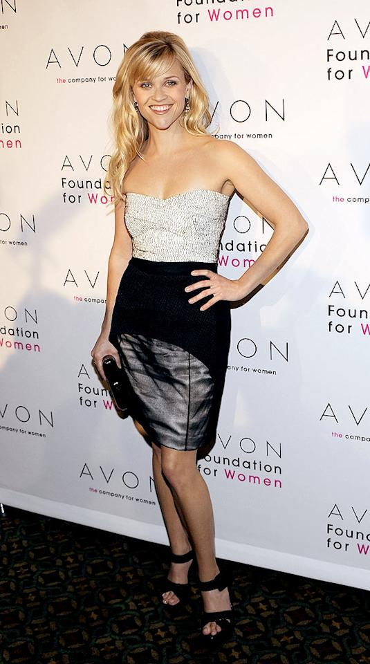 """Speaking of looking fab, Reese Witherspoon did just that at the Avon Foundation's """"Champions Who Change Women's Lives"""" celebration in a Narciso Rodriguez strapless ensemble, which featured an embellished bodice and a black sheer skirt overlay. Larry Busacca/<a href=""""http://www.gettyimages.com/"""" target=""""new"""">GettyImages.com</a> - October 27, 2009"""