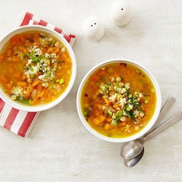 """<p>No need to worry about your protein intake thanks to the beans and chickpeas. Combine those with hearty butternut squash, and you have a filling meal. </p><p><em><a href=""""https://www.womansday.com/food-recipes/food-drinks/recipes/a12874/butternut-squash-white-bean-soup-recipe-wdy1014/"""" rel=""""nofollow noopener"""" target=""""_blank"""" data-ylk=""""slk:Get the Butternut Squash and White Bean Soup recipe"""" class=""""link rapid-noclick-resp"""">Get the Butternut Squash and White Bean Soup recipe</a>. </em></p>"""