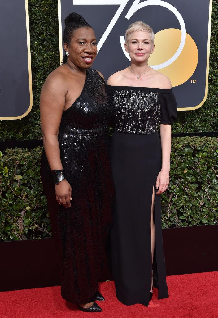 Activist Tarana Burke and actress Michelle Williams attend the Golden Globe Awards on Jan. 7, 2018 in Beverly Hills, Calif. (Photo: Axelle/Bauer-Griffin/FilmMagic)