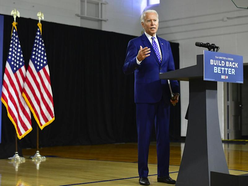 Presumptive Democratic presidential nominee former Vice President Joe Biden delivers a speech at the William Hicks Anderson Community Centre, on 28 July 2020 in Wilmington, Delaware: (2020 Getty Images)