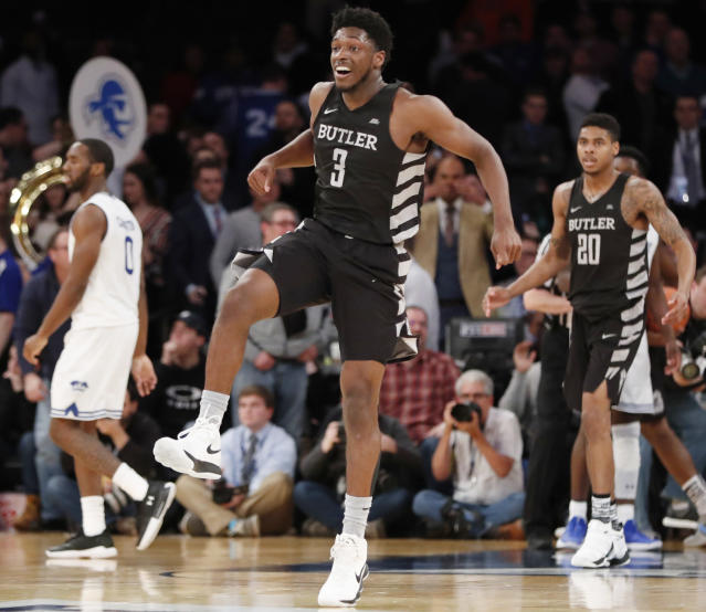 "Butler guard <a class=""link rapid-noclick-resp"" href=""/ncaab/players/135978/"" data-ylk=""slk:Kamar Baldwin"">Kamar Baldwin</a> (3) reacts after Butler upset Seton Hall 75-74 during an NCAA college basketball game in the Big East men's tournament quarterfinals in New York. (AP Photo/Kathy Willens)"