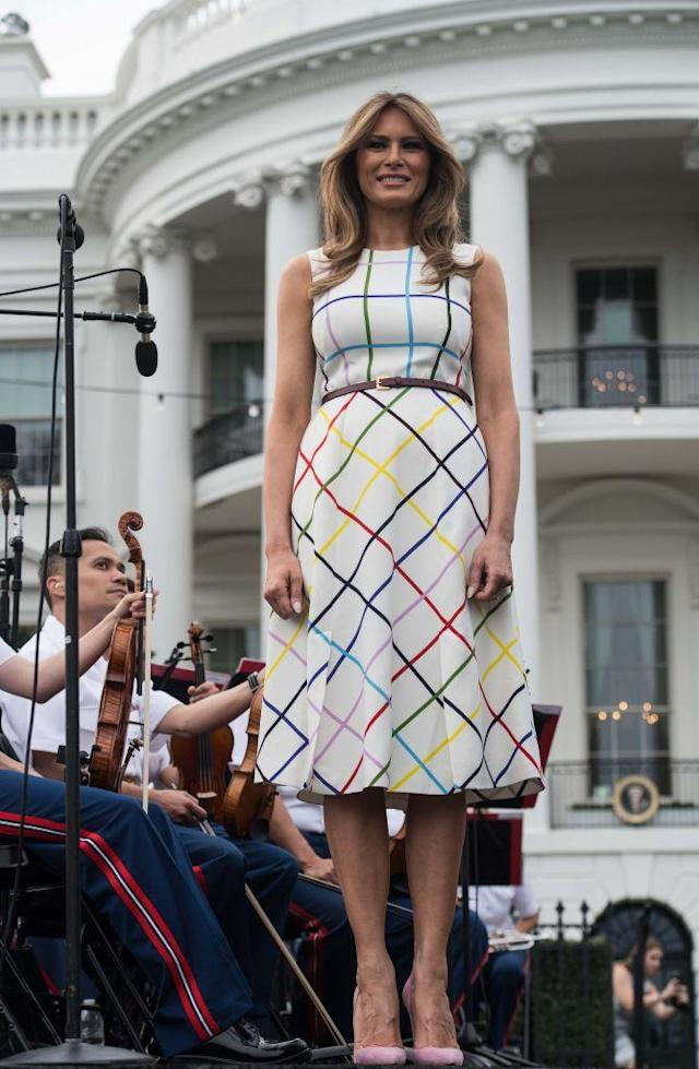 <p>Melania took it down a notch from Dolce & Gabbana for the Congressional Picnic. For the event, she sported a Mary Katrantzou dress with a rainbow windowpane check.</p>