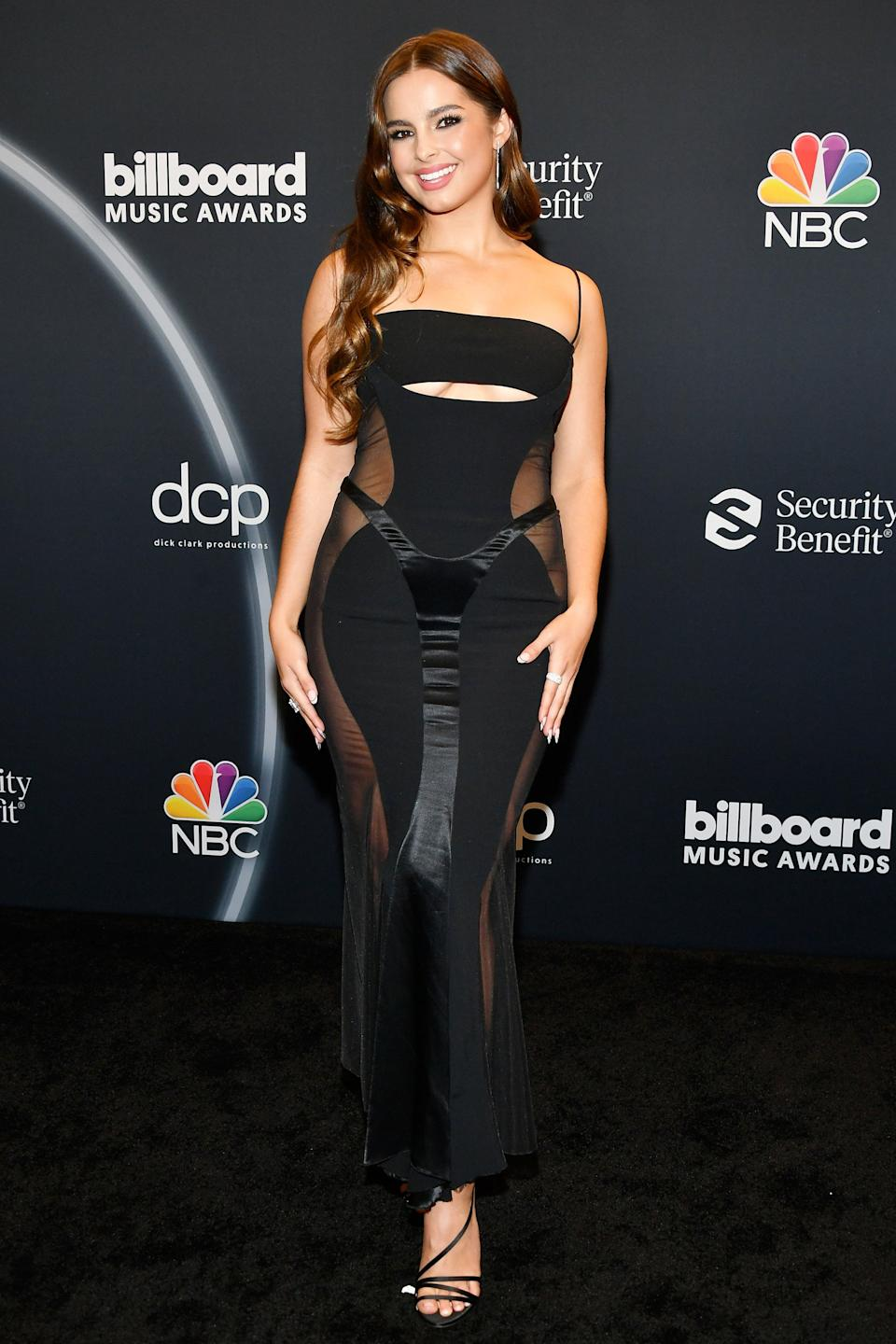 """<h2>Addison Rae in Mugler</h2><br>TikTok star Addison Rae took a cue from her lockdown BFF Kourtney Kardashian and wore a black, ultra-sexy Mugler dress to the BBMAs this year. <span class=""""copyright"""">Photo: Amy Sussman/BBMA2020/Getty Images for dcp.</span>"""