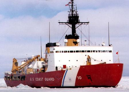 FILE PHOTO: Polar Star, the U.S. Coast Guard icebreaker, works the ice channel near McMurdo, Antarctica