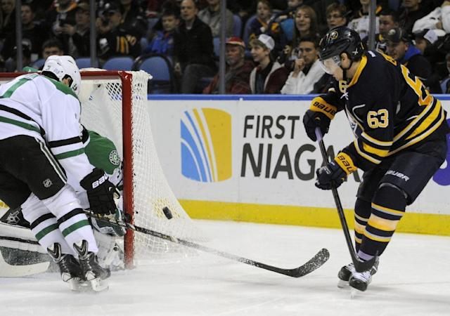 Buffalo Sabres' Tyler Ennis (63) shoots at the Dallas Stars' net during the first period of an NHL hockey game in Buffalo, N.Y., Monday, Oct. 28, 2013. (AP Photo/Gary Wiepert)