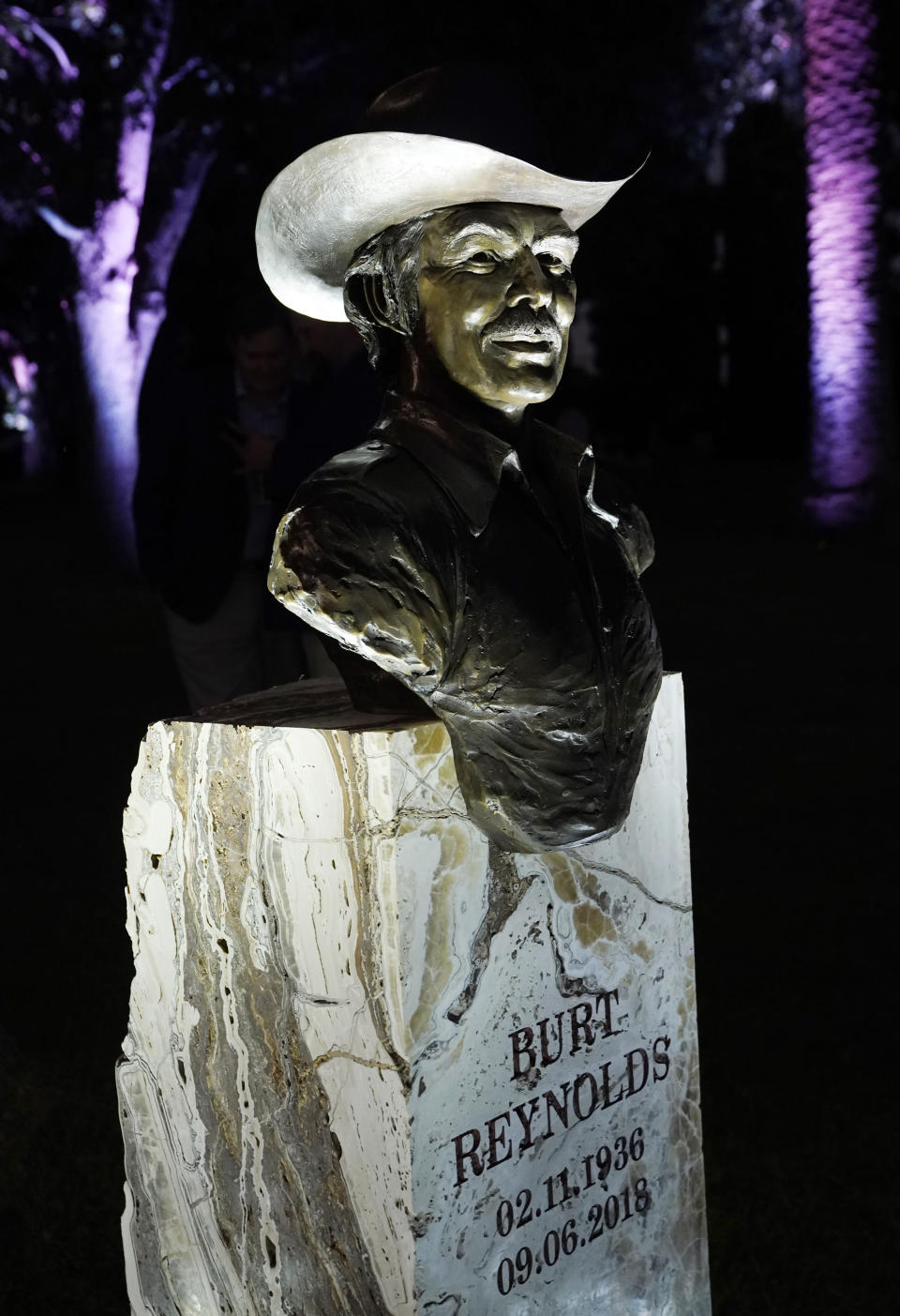 A memorial sculpture of the late actor Burt Reynolds is pictured following its unveiling at a ceremony at Hollywood Forever Cemetery, Monday, Sept. 20, 2021, in Los Angeles. Reynolds died in 2018 at the age of 82. (AP Photo/Chris Pizzello)