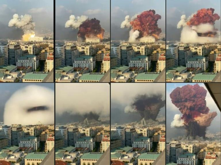 A combination of pictures showing the massive August 4 2020 explosion at Beirut port