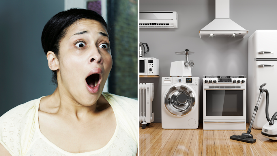 (Left) Shocked woman. (Right) White goods in a row, including washing machine, stove top and vacuum.