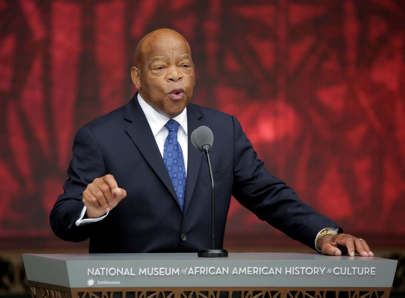 FILE PHOTO: Rep. John Lewis (D-GA) speaks at the dedication of the Smithsonian's National Museum of African American History and Culture in Washington