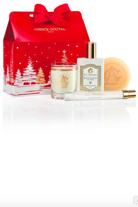 "<p>A festive assortment of the brand's cult-favorite body and home scents in a pouch so pretty there's no wrapping required.</p><p><strong></strong></p><p><strong></strong></p><p><strong>Annick Goutal</strong> Christmas Pouch, $45 for Eau d'Hadrien eau de toilette, body cream, perfumed soap, and mini Noël candle, <a rel=""nofollow"" href=""http://us.annickgoutal.com/discovery-pouch-christmas-exclusive"">us.annickgoutal.com</a>.</p>"