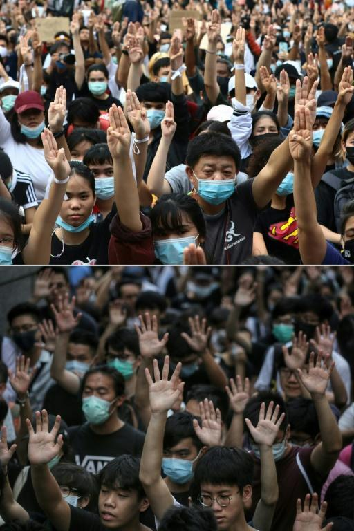 Protesters giving the three-finger salute in Bangkok, compared with demonstrators holding up their hands to symbolise their five demands that in Hong Kong