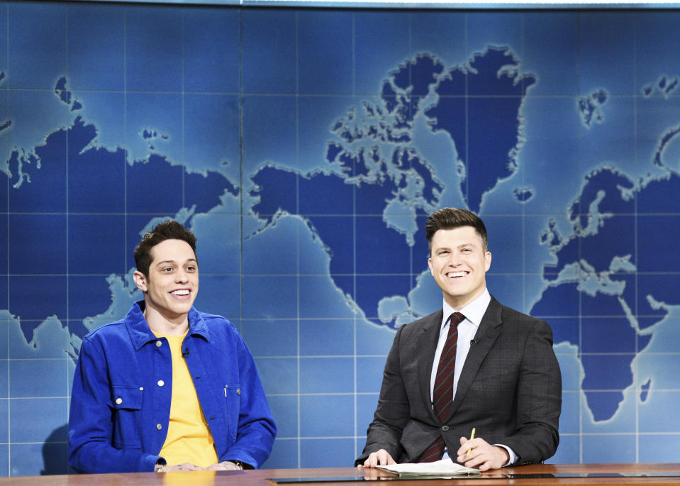 Pete Davidson (L) is best known for his appearances on 'Saturday Night Live' (Will Heath/NBC/NBCU Photo Bank via Getty Images)