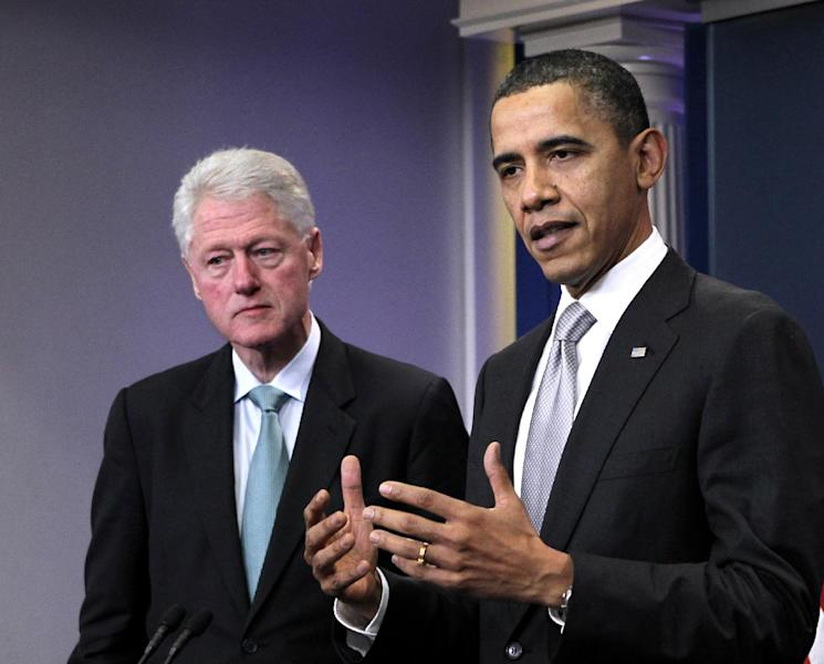 """FILE - In this Dec. 10, 2010 file photo, President Barack Obama, accompanied by former President Bill Clinton in the briefing room of the White House in Washington. President Barack Obama is getting a little help from former President Bill Clinton at a trio of campaign fundraisers in New York. The presidential duo will speak at a high-dollar fundraiser at a private home, then headline a gala at the Waldorf Astoria hotel. Obama and Clinton will end the night at an event dubbed """"Barack on Broadway"""" at the New Amsterdam Theatre. (AP Photo/J. Scott Applewhite, File)"""