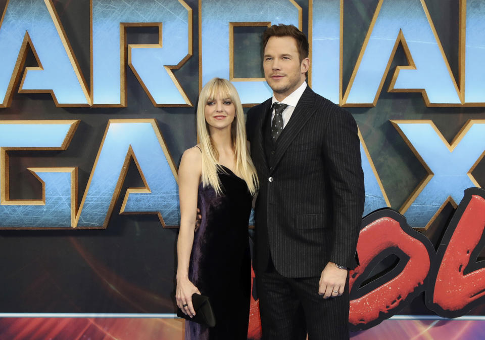 FILE- In this April 24, 2017, file photo, actors Anna Faris, left, and Chris Pratt pose for photographers upon arrival at the premiere of the film