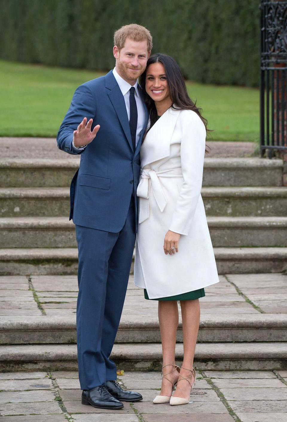 <p>After months of speculation, Prince Harry and American actress Meghan Markle announced their engagement at Kensington Palace in November 2017. The decision was made with the Queen's blessing. It was a historic moment, as Markle is of mixed-race, divorced, and the first American to marry into the royal family.</p>