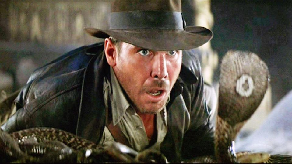 Indiana Jones faces off against a cobra in Raiders of the Lost Ark.