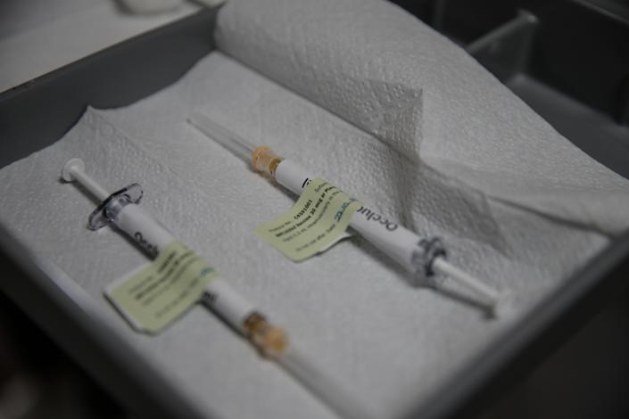 ANKARA, TURKEY - OCTOBER 27: Injection syringe of the phase 3 vaccine trial, developed against the novel coronavirus (COVID-19) pandemic by the U.S. Pfizer and German BioNTech company, are seen at the Ankara University Ibni Sina Hospital in Ankara, Turkey on October 27, 2020. This vaccine candidate, within the scope of phase 3 studies, was injected to volunteers in Ankara University Ibni Sina Hospital. (Photo by Dogukan Keskinkilic/Anadolu Agency via Getty Images)