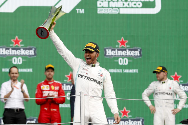 One of Reema Juffali's racing heroes is six-time champion Lewis Hamilton. (AP Photo)