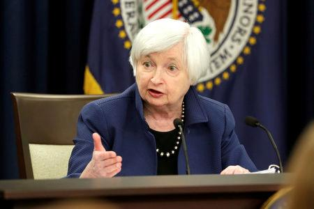 FILE PHOTO - Federal Reserve Chair Yellen speaks during a news conference in Washington