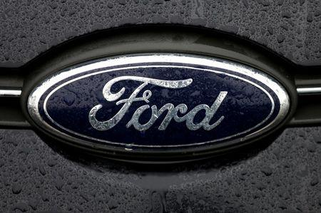 The Ford logo is pictured at the Ford Motor Co plant in Genk,Belgium December 17, 2014.REUTERS/Francois Lenoir/File Photo - RTSFV4L