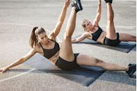 <p>By alternating this movement on either side, you engage a variety of core stabilizing muscles including the obliques.</p><p><strong>How to: </strong>Lie flat on the floor with your arms and legs extended. Take a deep breath and as you exhale, contract your abs and simultaneously raise your right leg up to the ceiling and your opposite left arm to touch your right foot. Lower back down slowly, and repeat on the other side so that your opposite hand touches the opposite foot. </p>