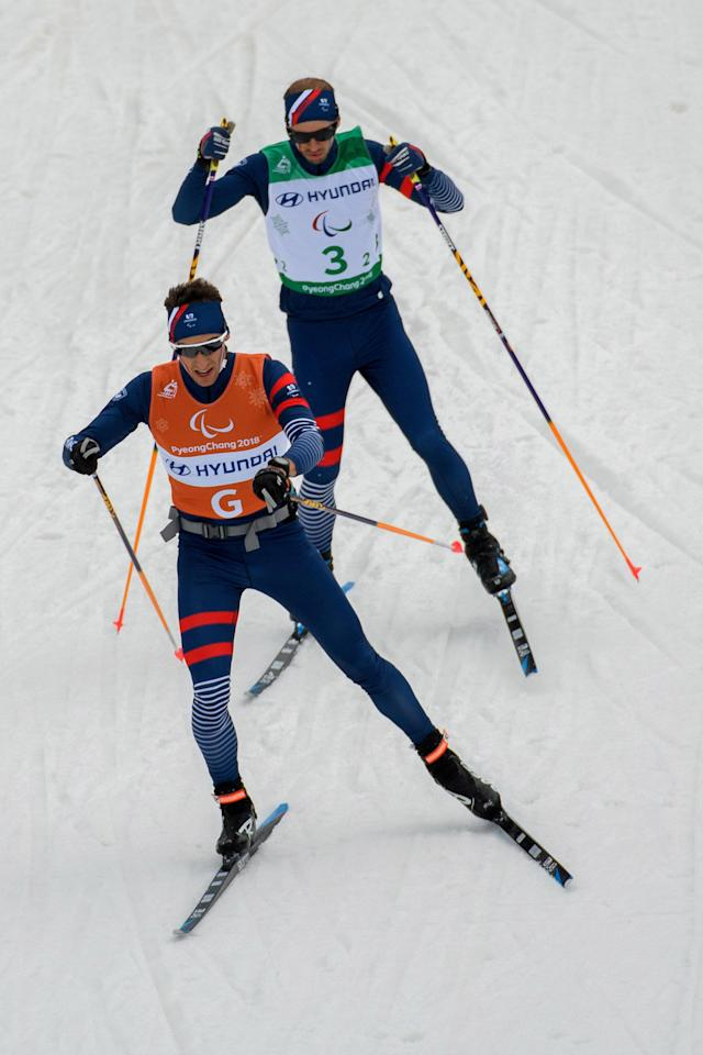 Anthony Chalencon France and his guide Simon Valverde compete during the Cross Country Skiing 4x2.5km Open Relay at the Alpensia Biathlon Centre. The Paralympic Winter Games, PyeongChang, South Korea, Sunday 18th March 2018. OIS/IOC/Thomas Lovelock/Handout via Reuters