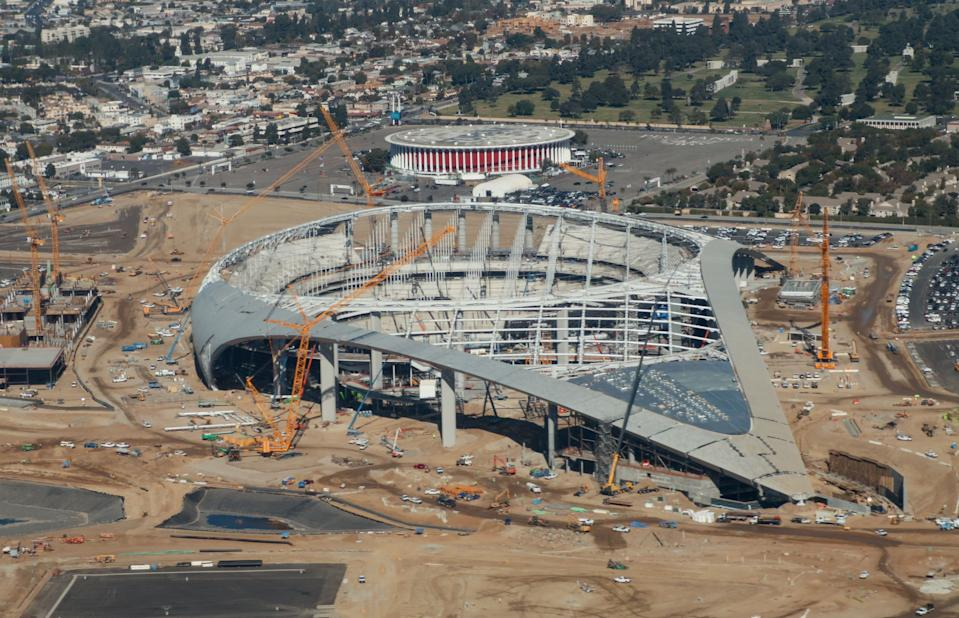 Will the NFL debut of the new Los Angeles stadium have to wait? (Daniel Slim/AFP via Getty Images)