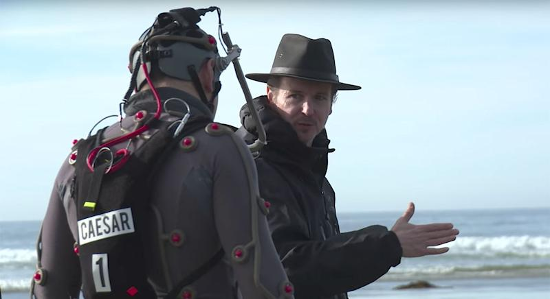 Matt Reeves instructs Andy Serkis on the set of 'War for the Planet of the Apes' (20th Century Fox)